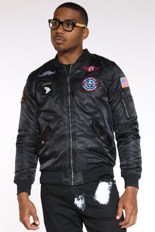 Men's Patches Bomber Jacket - Black-VIM.COM
