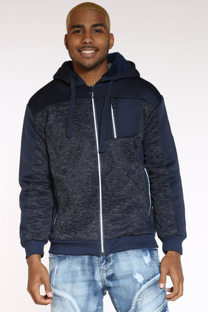 Men's Marled & Scuba Hooded Jacket - Navy-VIM.COM
