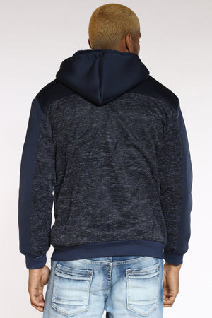 Men's Marled & Scuba Hooded Jacket - Navy