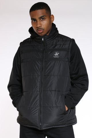 Men's Fleece Sleeves Jacket - Black-VIM.COM