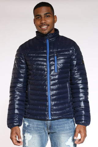 Men's Quilted Bubble Jacket - Navy-VIM.COM
