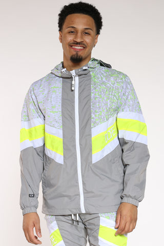 Men's Dope Windbreaker Jacket - Grey Neon-VIM.COM