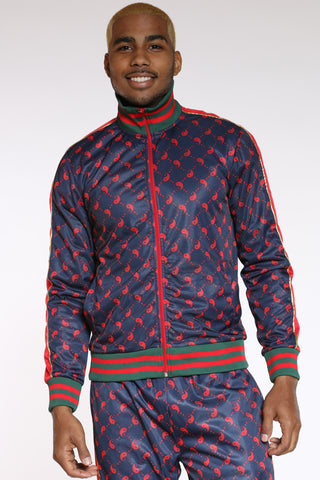 Men's Printed Track Jacket - Navy-VIM.COM