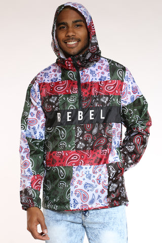 Men's Bandana Rebel Windbreaker Jacket - Black-VIM.COM
