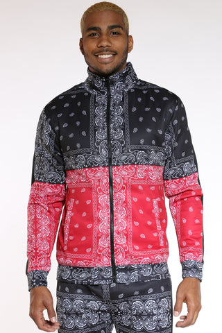 Men's Color Block Bandana Track Jacket - Black Red-VIM.COM