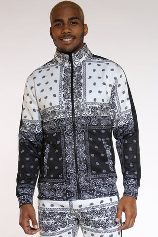 Men's Color Block Bandana Track Jacket - Cream Black-VIM.COM