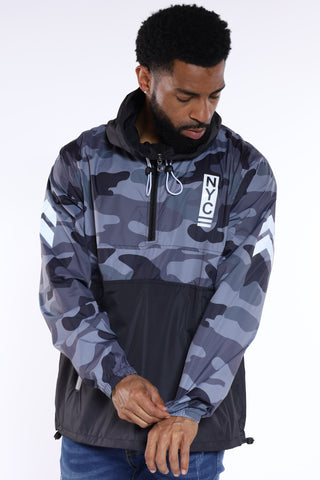 NYC Chief Of Staff Windbreaker Jacket - Black Camo-VIM.COM