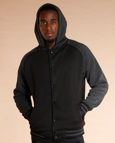 Black Varsity Fleece Hooded Jacket