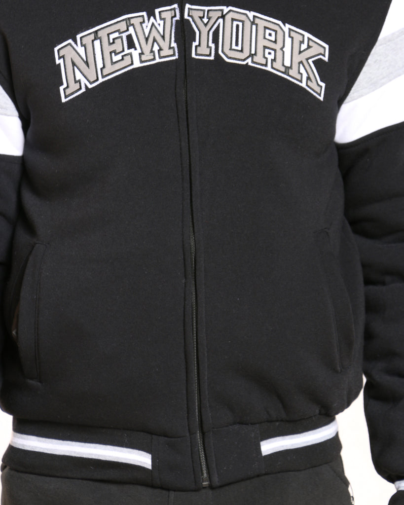 New York Full Zip Quilted Jacket - Black
