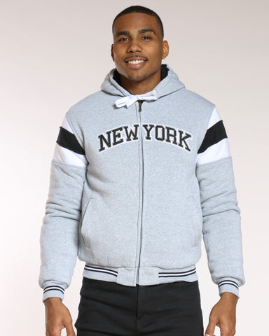 Men's New York Full Zip Quilted Jacket - Heather Grey-VIM.COM