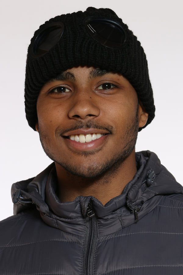 Men's Goggles Attached Beanie Hat - Black-VIM.COM