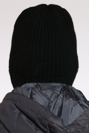 Men's Goggles Attached Beanie Hat  - Black