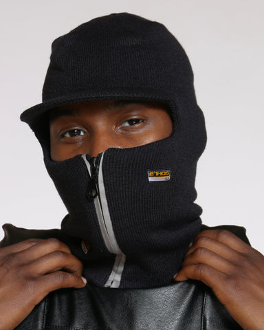 Liam Colored Zip Visor Ski Mask Hat - Silver-VIM.COM