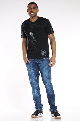 Men's Embroidered Pocket Slim Fit Jean - Acid Blue-VIM.COM