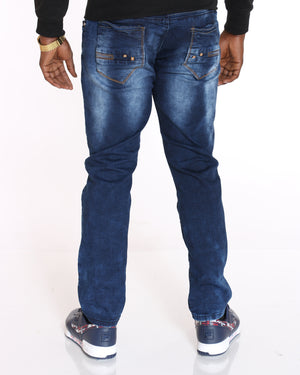 VIM Stretch Blasting Embroidered Pocket Jean - Dark Stone - Vim.com