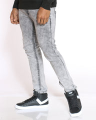 Timmy Basic Embroidered Stretch Slim Straight Jean - Light Grey