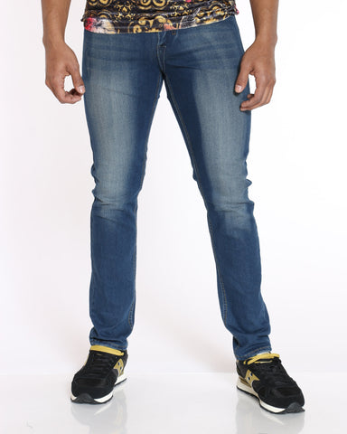 SKAZI-Men's Scratches & Blasting Jean - Dark Blue-VIM.COM