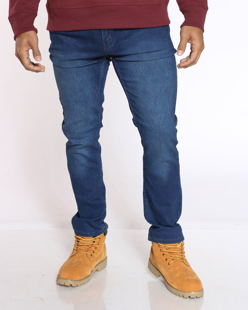 Embroidered Pocket Jean - Dark Blue