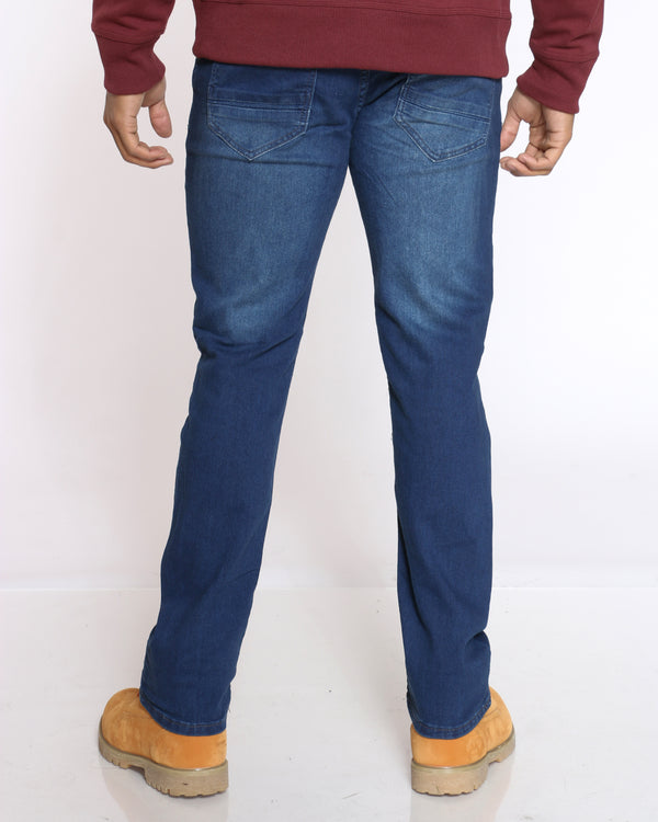 Men's Embroidered Pocket Jean - Dark Blue