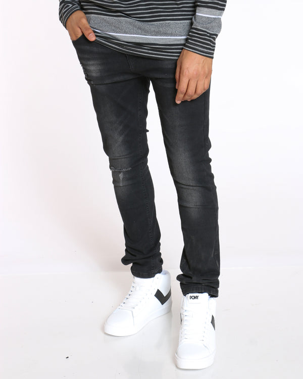 Men's Light Blasting & Ripped Jean - Black