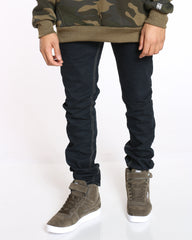 Double Stitch Straight Fit Jean - Blue Black