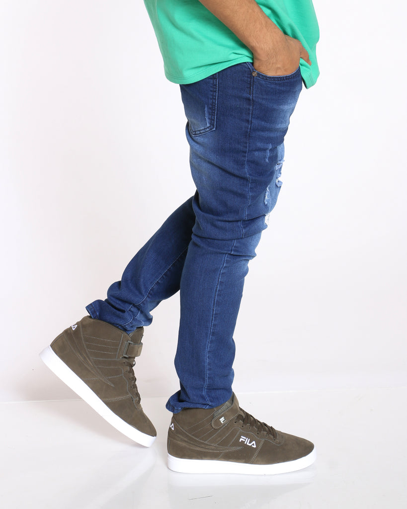 Men's Ripped & Blasting Slim Fit Jean - Dark Blue