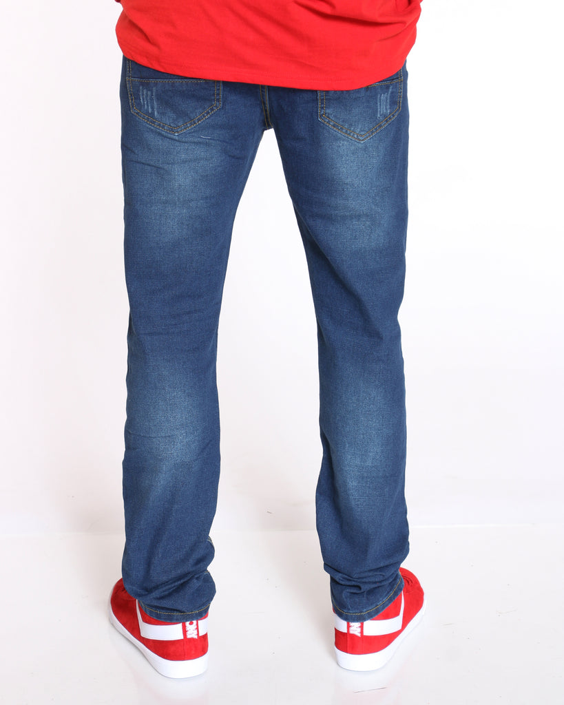 Blasting & Light Scratches Slim Fit Jean - Dark Blue