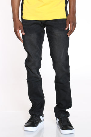 Men's Straight Leg Skinny Fit Jean - Black-VIM.COM
