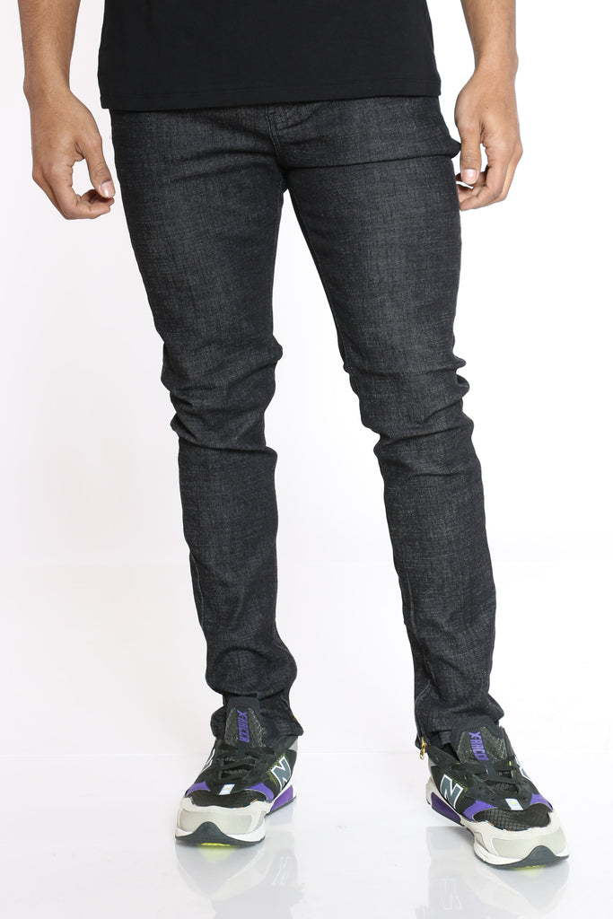 Floyd Raw Denim Ankle Zips Jean - Black