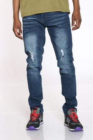 Men's Blasting & Light Ripped Jean - Dark Blue-VIM.COM
