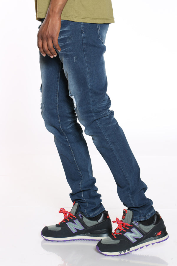 Men's Blasting & Light Ripped Jean - Dark Blue