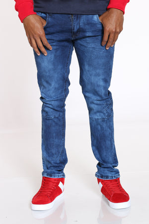 Men's Light Scratches Straight Fit Jean - Dark Blue-VIM.COM
