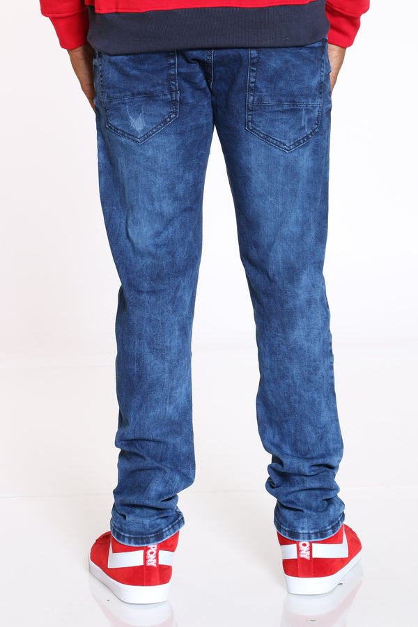 Men's Light Scratches Straight Fit Jean - Dark Blue