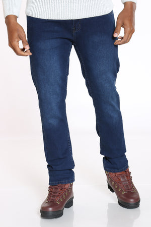 Men's Embroidered Pocket Straight Fit Jean - Dark Blue-VIM.COM