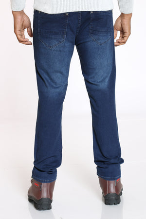 Men's Embroidered Pocket Straight Fit Jean - Dark Blue