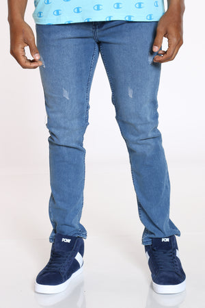 Men's Light Scratches Straight Fit Jean - Light Blue-VIM.COM