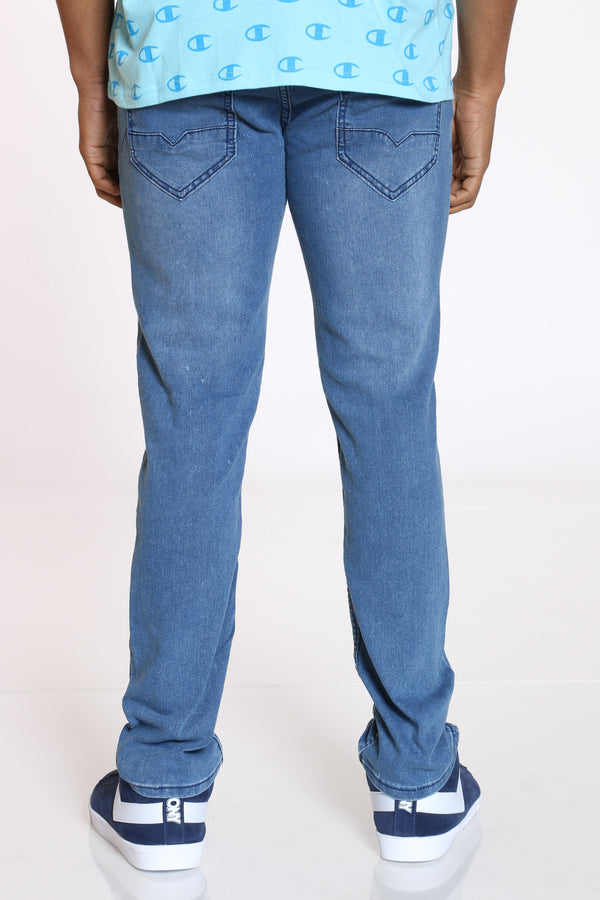 Men's Light Scratches Straight Fit Jean - Light Blue