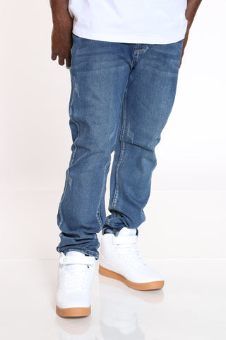 Men's Light Scratches Embroidered Pocket Jean - Blue-VIM.COM