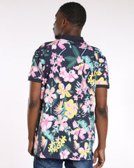 Floral Printed Polo - Navy