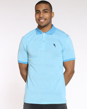 Men's Marled Horse Embroidered Shirt - Turquoise-VIM.COM