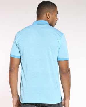 Men's Marled Horse Embroidered Shirt - Turquoise