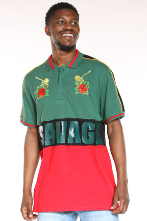 Men's Savage Roses Polo Tee - Green Red-VIM.COM