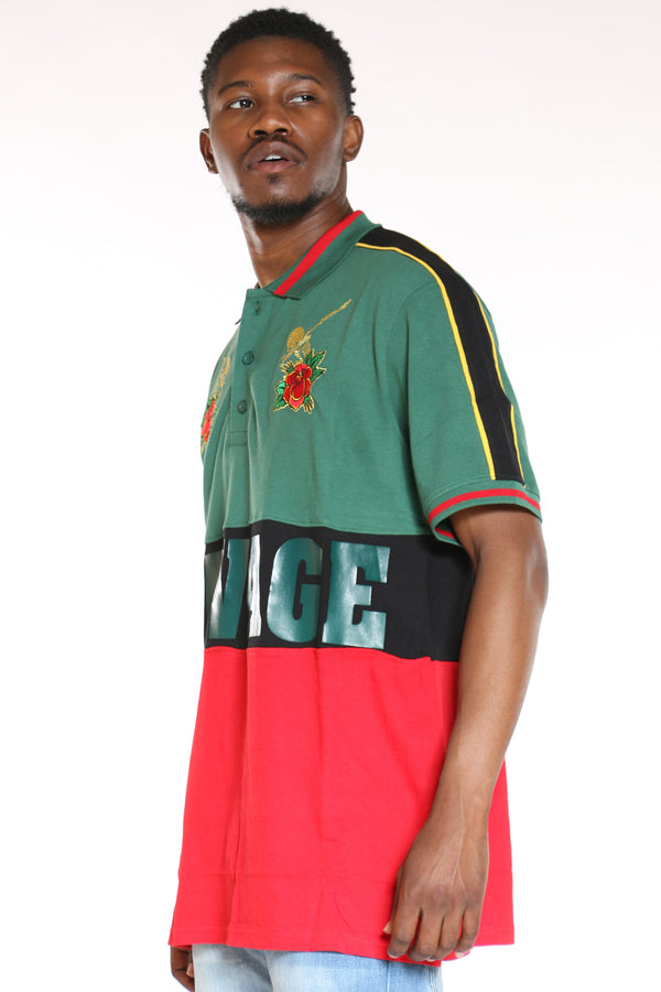 Men's Savage Roses Polo Tee - Green Red