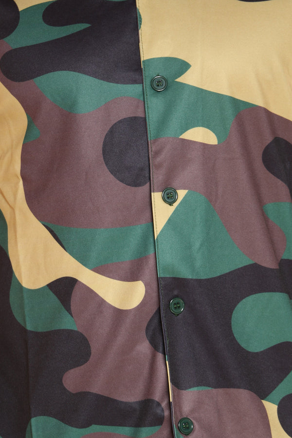 Men's Camo Jersey Polo Shirt - Forest