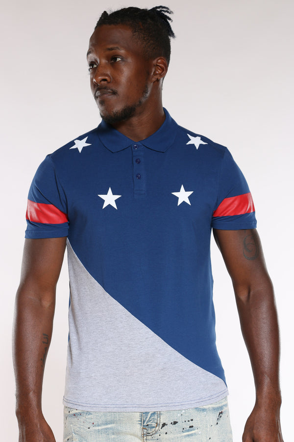 Men's Stars Cut & Sow Tee - Navy Grey-VIM.COM