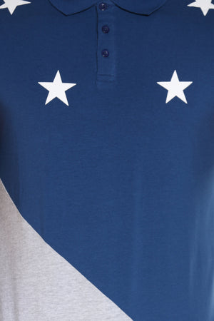 Men's Stars Cut & Sow Tee - Navy Grey