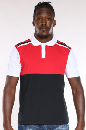 Men's Color Block Polo Tee - Red Black-VIM.COM