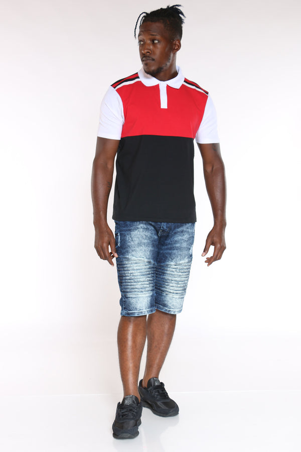 Men's Color Block Polo Tee - Red Black