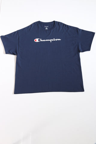 Men's Big Men Script Logo Shirt - Navy