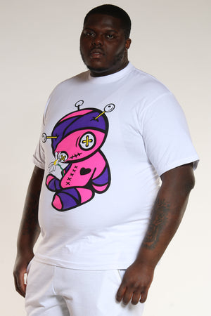 Men's Plus Size Voodoo Doll Tee - White